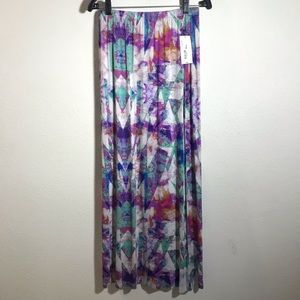 Boho watercolor tie dye maxi skirt with high slit